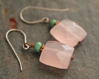 Turquoise and Pink Chalcedony Earrings