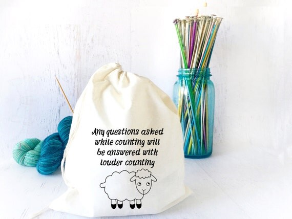 Knitting Project Bags Uk : Funny drawstring project bag knitting sock