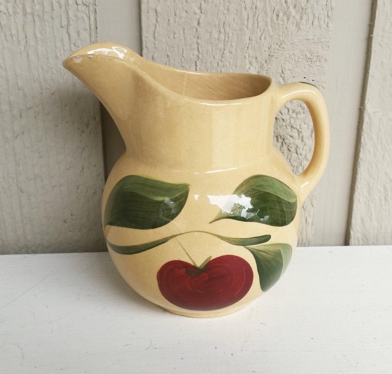 Vintage Watt Apple Pitcher 16 Yellow Ware Watt Pottery USA 3