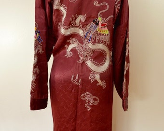 on sale Vintage JAPANESE Satin ROBE Kimono Type Embroidered 1940's 50's