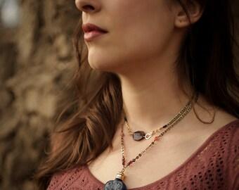 The Santa Fe Heart Amulet - perfume oil in glass heart perfume bottle necklace, pendant with garnet, sunstone, brass -For Strange Women