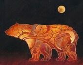 Bear Etching - Ursa - 8 x 10 Art Print - Oil Pastel Etching