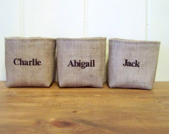 personalized name baskets / burlap / storage /organization / embroidered / storage basket / fabric organizer / embroidery / custom /