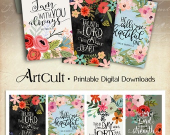 """Printable download BIBLE VERSES TAGS No.7 Scripture Art 2.5""""x3.5"""" size hang tags digital collage sheet greeting cards ArtCult designs"""