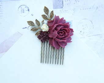 Wedding Hair Comb, Burgundy, Ivory, Maroon Marsala Wedding, Maroon Ivory Flower Hair Piece, Romantic Comb Bridesmaids Gift, Fall Rustic Comb