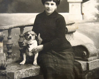 Antique lady with dog photograph, antique dog photo, antique terrier dog, woman with terrier, girl with terrier photo