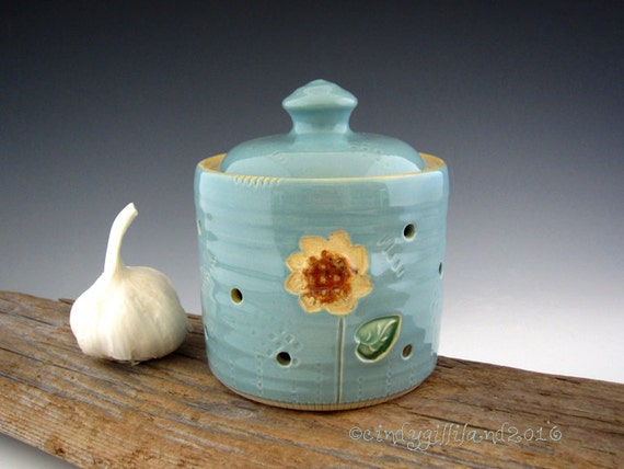 Garlic Storage Jar in Vintage Turquoise with Sunflower - Garlic Keeper - by DirtKicker Pottery