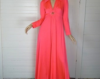 Shocking Pink Maxi Dress- 1960s / 70s Formal in Neon Pink- Long Sleeves, Rhinestones