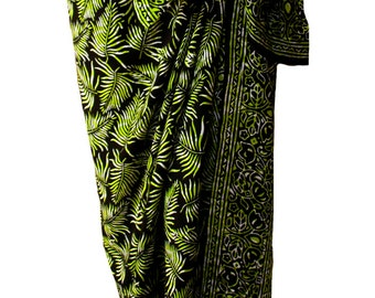 Batik Sarong Beach Sarong Pareo Swimsuit Coverup - Black & Green Tropical Leaf Hawaiian Sarong Beach Wrap Womens Clothing or Men's Beachwear