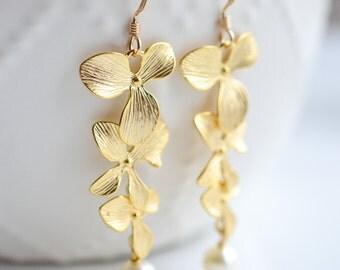 Bridal Earrings Gold Triple Orchid Wedding Earrings