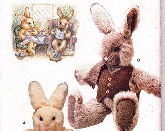 "Primitive Greeter Vogue 7138 UNCUT Large 28"" Stuffed Bunny Rabbit Dolls-Boy & Girlw/ Clothes Vintage Crafts Sewing Pattern Linda Carr Design"