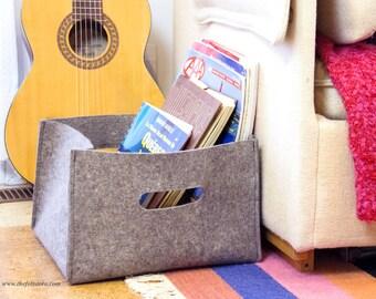 Large Wool Felt Storage Basket with Handles