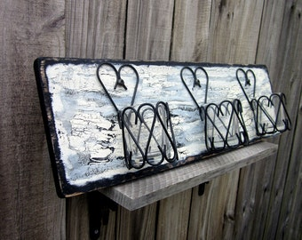 Candle Holder, Wall Decor, Tealight Holder, Painted Wood, Distressed, Rustic, Metal Candle Holder, Heart Tealight Holder, Black, Ivory