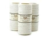 White Hemp Cord,  1mm,  205 feet, Hemp Twine,  Macrame Cord,  Eco Friendly, White Bead Cord  -T32