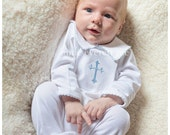 Baptism Boy Outfit- Boy Footed Christening Outfit-Dedication Outfit- Baptism Footed Sleeper Outfit- Personalized Baptism Outfit