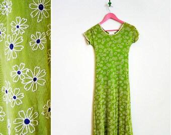 Vintage 1990s Bonnie Jean NY Lime Green Daisy Print Stretch Dress Size 12