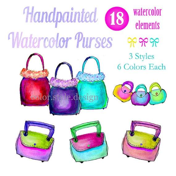 Watercolor Clipart, Digital Watercolor Clip Art, Fancy Purses, Digital Scrapbooking, Hand Painted Watercolors, Watercolor Art, Handbags
