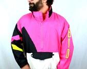 Vintage 80s Neon Pink Jacket Windbreaker Pullover - Bio Generation