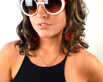 Amazing Vintage 60s 1960s Rare Red White Sunglasses with Chains