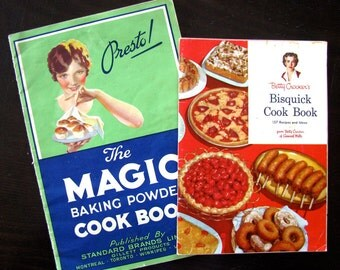 Vintage Cookbooks, 1930s The Magic Baking Powder Cook Book & 1950s Betty Crockers Bisquick Cook Book, Main Course and Baking Cookbook