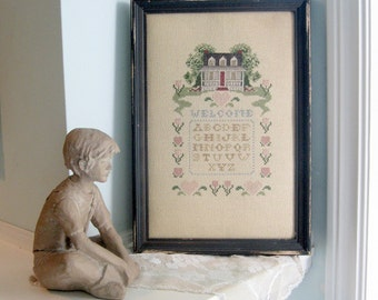 Sampler, Needlework, Wall Hanging, Alphabet, Folk Art, Cottage Charm, Country Chic, by mailordervintage on etsy