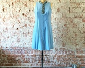 Ice Blue Velvet Vintage 1960s Mod Dress Beaded Collar Mini Dress M