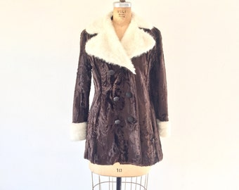 Vintage 1960s Faux Fur Coat Chocolate Brown White Fur Trim Collar Peacoat S