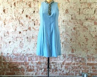Ice Blue Velvet Vintage 1960s Mod Dress Beaded Collar Mini Dress M