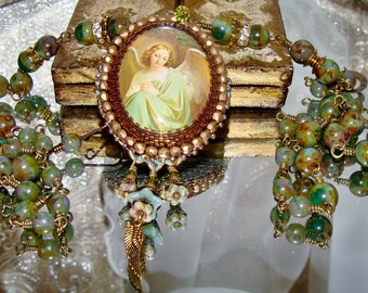 Earth angel bead embroidery cabochon pendant prayer necklace Pamelia Designs Sacred Jewelry