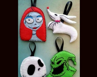 Nightmare Before Christmas ornament set, Halloween ornament set, Felt ornament, 4 piece magnet set