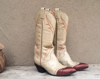 Vintage cowgirl boot size 7 M (runs narrow) two tone wingtip creamy beige leather red-brown exotic lizard tip, Tony Lama cowboy cowgirl boot