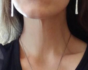 Hammered Silver Earrings - Long Bar Earrings Simple - Minimalist Geometric Line Dangle Earrings - Modern Earrings Cool Simple Minimal Style