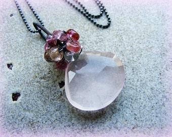 Rose quartz necklace, rose quartz silver necklace, rose quartz tourmaline necklace, pink cluster necklace, Valentines day gift, rose cluster