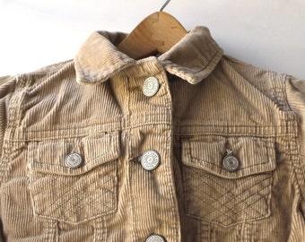 vintage 80s classic corduroy jacket large wale size childrens xs 4-5 beige tan clothing jean 100% cotton lightweight fall coat autumn unisex