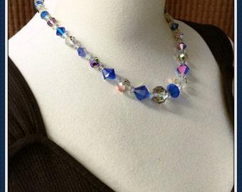 Vintage Blue Crystal Necklace, Formal, Bicone, Aurora Borealis, Round, Graduated, Adjustable, 1960's