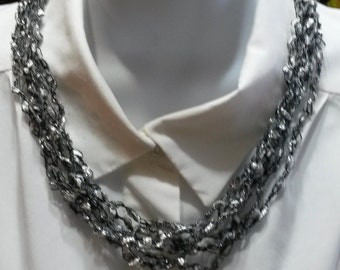 Silver Glimmer Hand Crocheted Ladder Ribbon Necklace- Black, white and silver