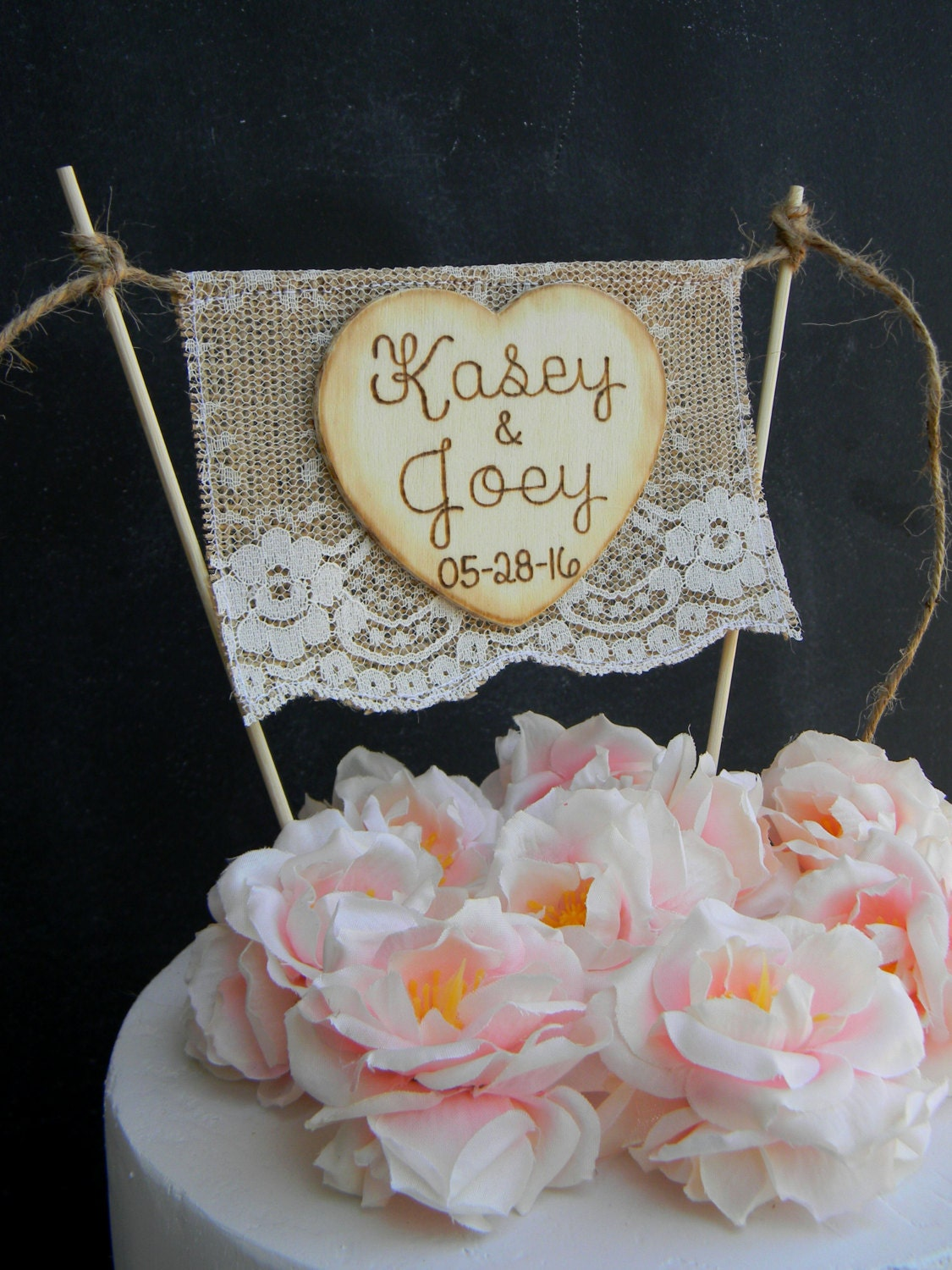 Personalized Wedding Cake Topper Burlap & Lace by justforkeeps
