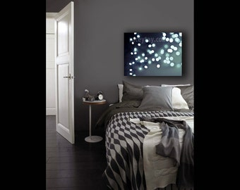 Large Canvas Art- Modern Bedroom Wall Art Canvas- Blue Gray- Abstract Canvas Decor Fairy Lights