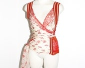 JEAN PAUL GAULTIER Maille Vintage Sheer Peace Sign Wrap Around Vest Top - Authentic -
