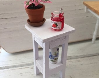 Miniature White Side Table, Plant Stand, Table with Shelf, Dollhouse Miniature Furniture, 1:12 Scale, Dollhouse White Table