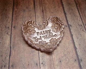 Fairy GodMother Gift Personalized Vintage Floral Lace Heart Shape Ring Dish SMALL Jewelry Holder Dish, Vintage Style Antique Bronze Pearl