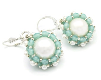 Beaded pearl wedding earrings - mint green earrings - Swarovski pearl earrings - drop pearl earrings - anniversary jewelry gift