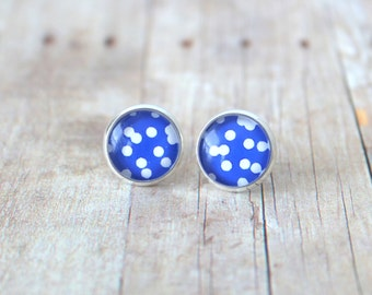 C O N F E T T I - Bright Blue and White Confetti Polka Dot, Photo Glass Cab, Silver Plated Stud Earrings, 12mm