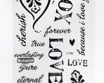 CTMH C1259 Because I Love You Close To My Heart Love Clear Stamp Set Card Making Craft Retired Discontinued Unmounted Stamps USED