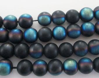 "Tittanium Onyx Round Beads - Mystic Blue Black Smooth Beads - Matte Metallic Coating - Semiprecious - 10mm - 16"" Strand - DIY Jewelry Making"