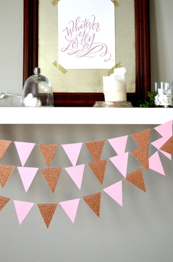 Geometric Triangle Garland in glitter and solid colors  - 10 feet of bunting