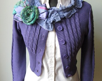 Shabby Chic Purple Cardigan, Tattered Sweater, Mori Girl Tops, Purple Cropped Cardigan, Anthropologie Inspired, Upcycled Recycled Clothing