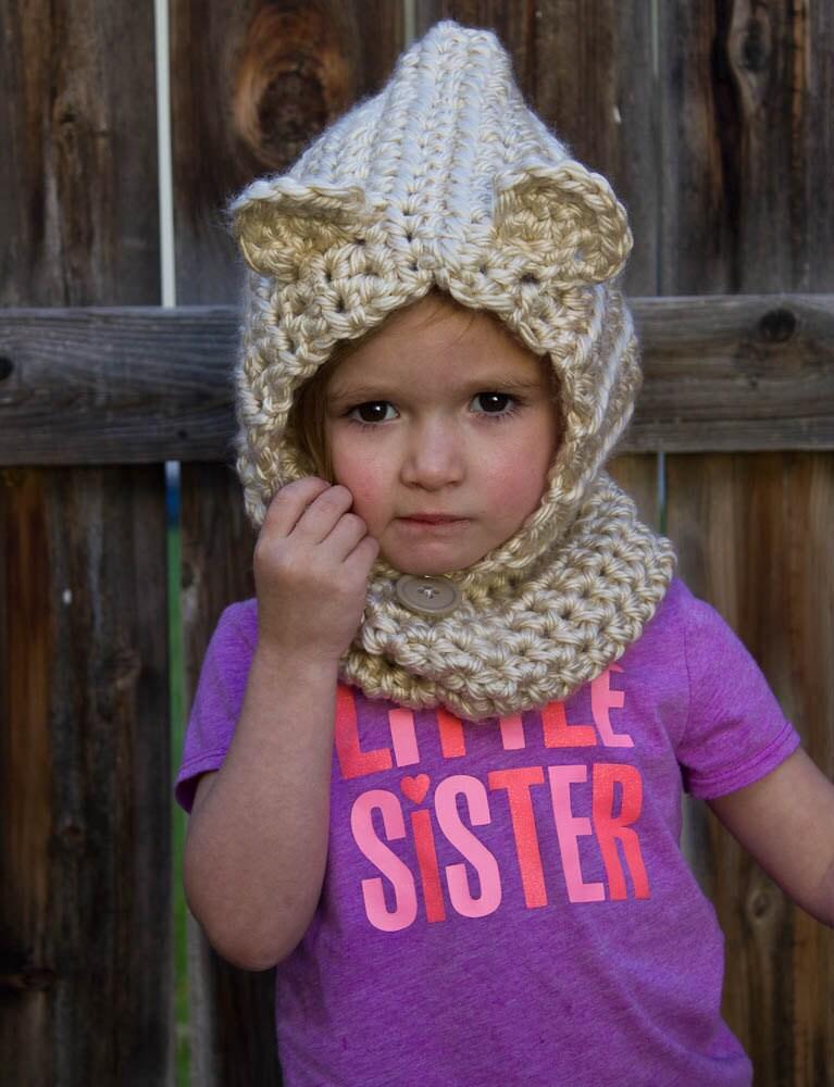 Teddy Bear Cowl Crochet Pattern Free : Cowl Hood Baylie Bear Crochet Cowl Crochet Bear Hood Animal