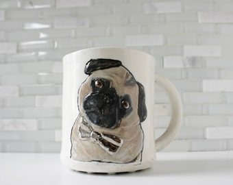 IN STOCK! Pug Mug | pug dog gift | coffee mug tea cup | pet portrait with bow tie | pet mug stoneware ceramic clay