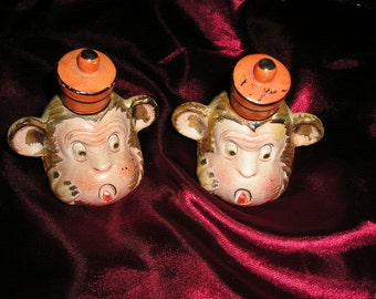 Vintage Whimsical Funky Collectible Salt/Pepper Shakers Circus Monkeys w/Hats Rare Pair..